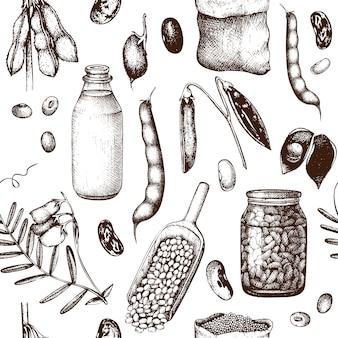 Muster mit handgezeichneten hülsenfruchtpflanzen. weinlesehintergrund.