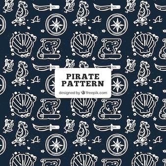 Muster mit handgezeichneten piratenobjekten