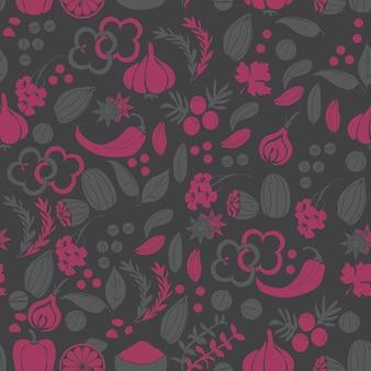 Muster mit handgezeichneten vektorgewürzen und kräutern. heil-, kosmetik-, küchenpflanzen - vektor