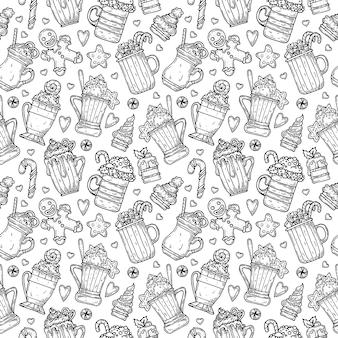 Muster mit heißen getränken, keksen und kuchen