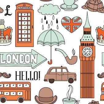 Muster mit londoner symbolen und sehenswürdigkeiten Premium Vektoren