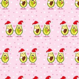 Muster mit neujahrs-avocados. frohe weihnachten druck auf einem plakat, einer postkarte, kleidung.
