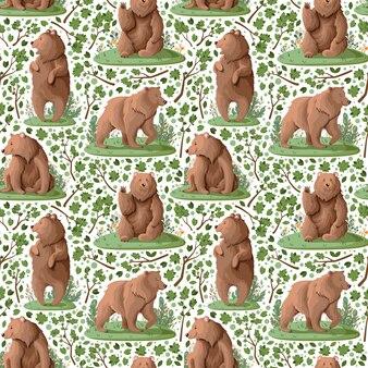 Muster mit niedlichen bären im wald.