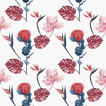Muster mit pampasblumenaquarell