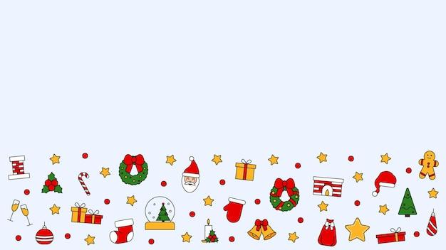 Muster mit platz für text mit symbolen für weihnachten und guten rutsch ins neue jahr. im traditionellen vintage-stil für postkarte, stoff, banner, vorlage für glückwünsche, geschenkpapier. vektor flach.