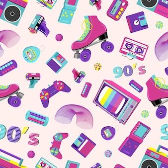 Muster mit retro-abzeichen mit rollschuhen, kassettenspielern und anderen artikeln in bunten 80er 90er jahren