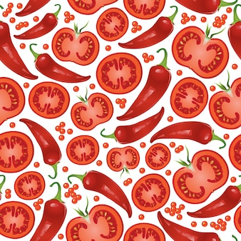 Muster mit rotem pfeffer und tomaten.