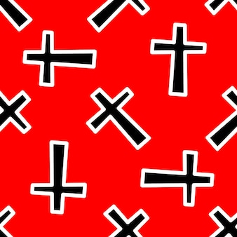 Muster mit schwarzen kreuzen auf rotem grund