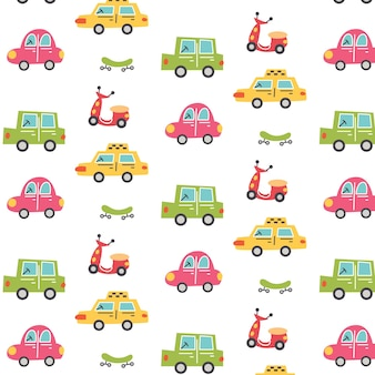 Muster mit stadtautos, taxi, roller und skateboard. kindergarten digitales papier, vektor handgezeichnete illustration
