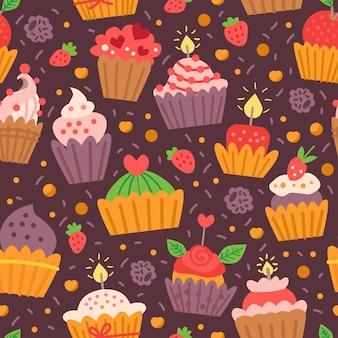 Muster mit süßigkeiten cupcakes. für geburtstagsfeier