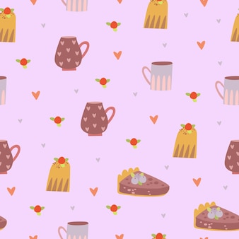 Muster mit tassen und süßigkeiten