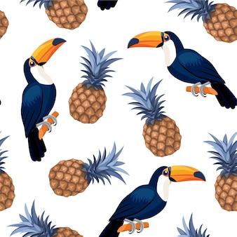 Muster mit tukanen und ananas. nahtloses muster.