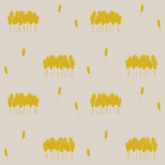 Muster mit vektorbild von gelben ohren einzeln und auf einem haufen