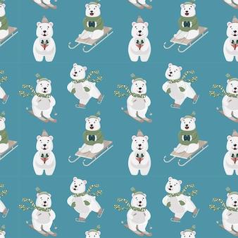 Muster mit verschiedenen arten von bären einer fährt ski, der andere ist auf einem schlitten, der dritte ist auf schlittschuhen, der vierte hat ein geschenk in seinen pfoten