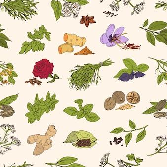 Muster mit verschiedenen frischen leckeren gewürzen oder pikanten gewürzen auf hellem hintergrund. pflanzen mit blättern, samen und blüten.