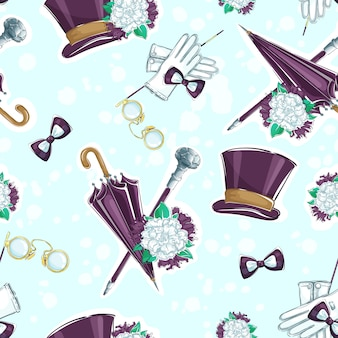 Muster mit vintage gentlemen's elementen.
