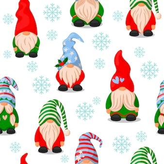 Muster mit weihnachtszwergen. cartoon-stil