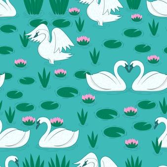 Muster mit weißem schwan und seerosenblättern