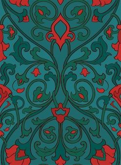 Muster mit zierblumen. grüne und rote filigrane verzierung.