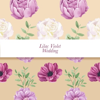 Muster nahtlos mit lila violettem hochzeitskonzept, aquarellart