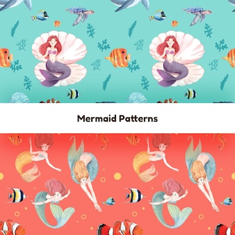 Muster nahtlos mit meerjungfrau-konzept, aquarell-stil