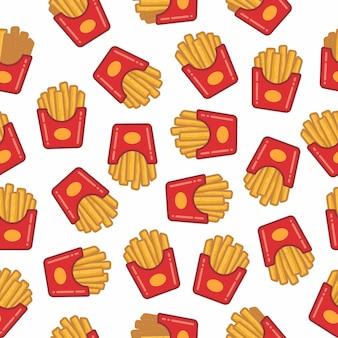 Muster nahtlos von pommes frites
