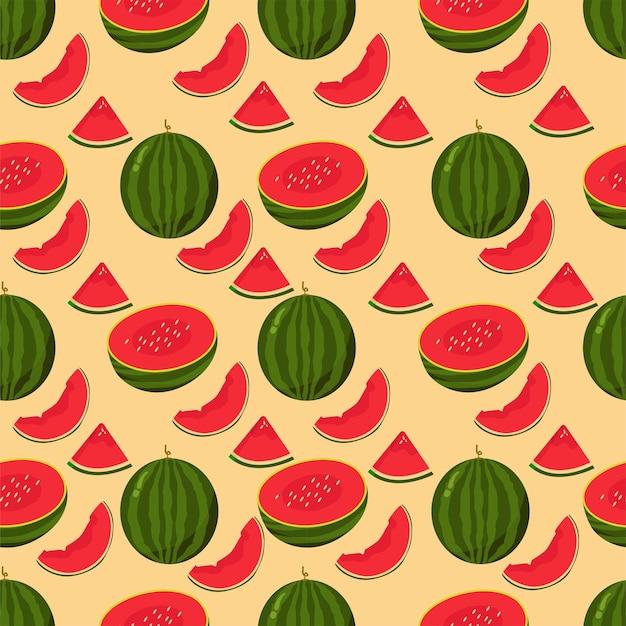 Muster nahtlose sommerfrucht wassermelonenscheibe