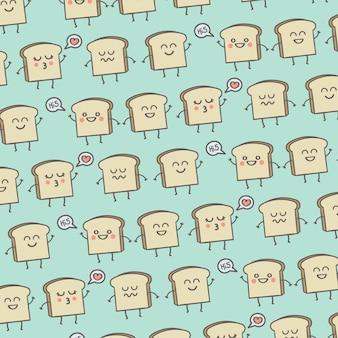 Muster-netter lächeln-toast-frühstücks-hintergrund