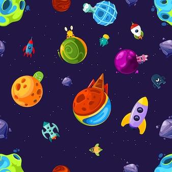 Muster oder illustration mit karikaturraumplaneten und -schiffen
