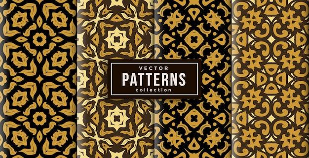 Muster-ornament-stil batik-farben-set von vier. nahtloser hintergrundsatz
