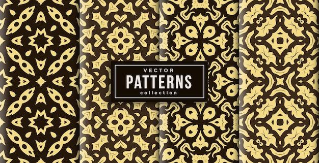 Muster-ornament-stil batik-farbsatz von vier. nahtloser hintergrundsatz