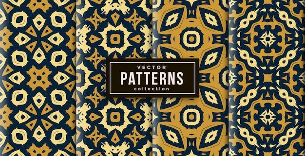 Muster ornament stil drei farben set von vier. nahtloser hintergrundsatz