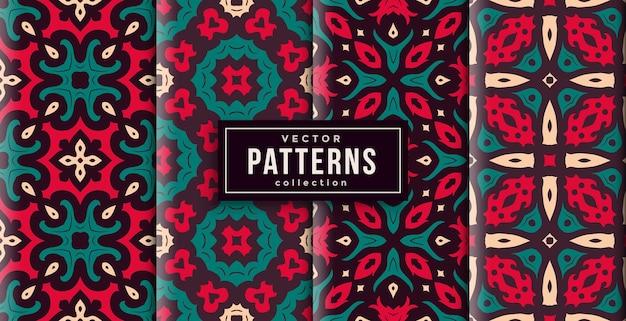 Muster-ornament-stil rote und grüne farben satz von vier. nahtloser hintergrundsatz