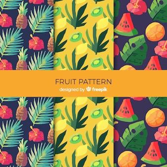 Muster-sammlung der tropischen früchte des aquarells