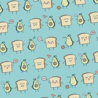 Muster süßes avocados und toast-frühstück