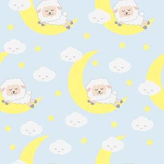 Muster-Tapetenhintergrund der netten entzückenden lustigen Schlafenschaftier-Karikatur nahtloser