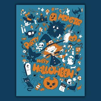 Muster und elemente für halloween-nacht