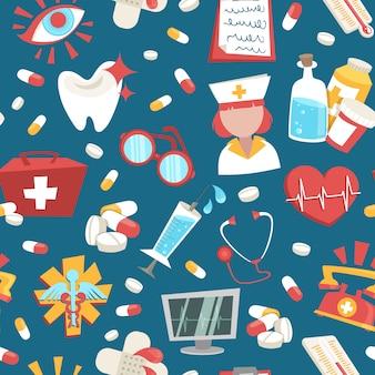 Muster-vektorillustration der medizinischen gesundheitswesennotunterstützung des krankenhauses nahtlose