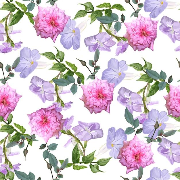 Muster-vektorillustration der purpurroten trompetenrebe und der rosafarbenen blume nahtlose