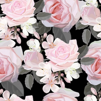 Muster-vektorillustration der rosarose nahtlose