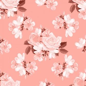 Muster-vektorillustration der rosen nahtlose