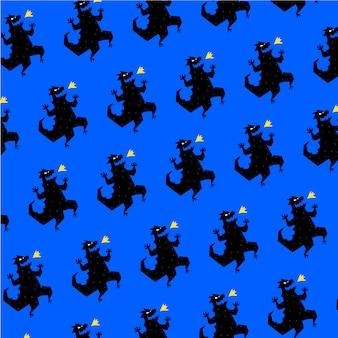 Muster, verzierung des dinosauriers. vektor. reptil im cartoon-stil.