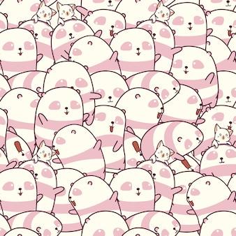 Muster vieler pandas und katzen.