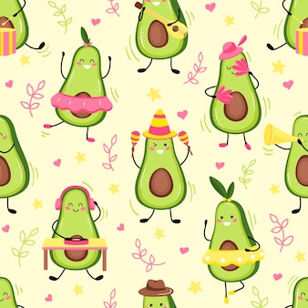 Muster vof niedliche avocadofrucht, die einen feiertag feiert. niedliche kawaii avocadofrucht. flacher cartoon