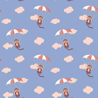 Muster von affen mit fallschirm. rosenquarz und serenity farben