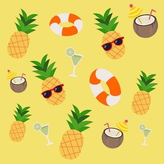 Muster von ananas-soda lifering im trapischen thema