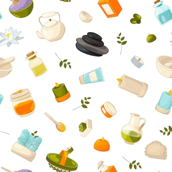 Muster von beauty- und spa-elementen