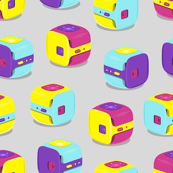 Muster von bunten tragbaren videoprojektoren. vektor-illustration auf grauem hintergrund.