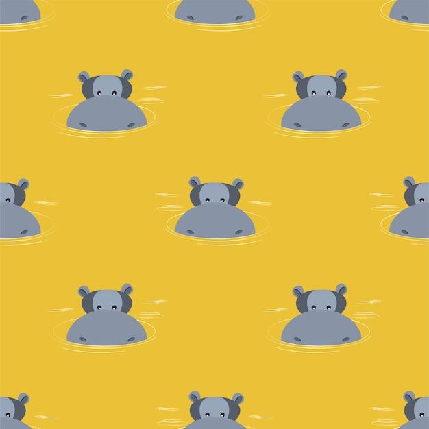 Muster von flusspferden, die aus wasser auftauchen. vektor-illustration.