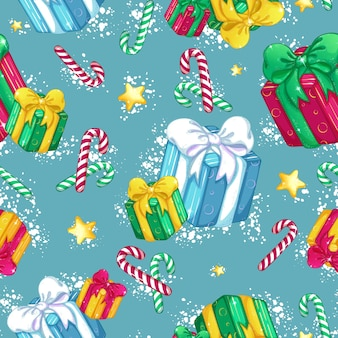 Muster von geschenkboxen mit einem schönen bogen, goldenen sternen, gestreiften süßigkeiten und schnee.